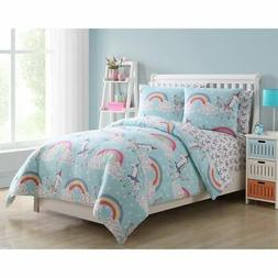 Light Blue Unicorn Rainbow Daydreaming Kids Reversible Bed i
