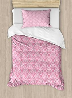 Light Pink Duvet Cover Set by Ambesonne, Classic Victorian S