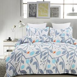 Vaulia Floral Print Polyester Microfiber Duvet Cover with Pi