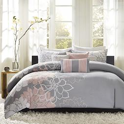 Madison Park Lola Duvet Cover, Full/Queen, Grey/Blush