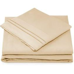 Cosy House Collection Queen Size Bed Sheets - Cream Luxury S