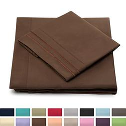 Queen Size Bed Sheets - Chocolate Luxury Sheet Set - Deep Po