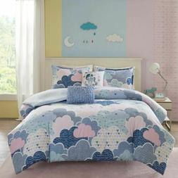Luxury Blue Purple Pink Playful Clouds Duvet Cover Set AND D