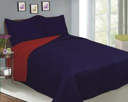 Luxury Fashionable Reversible Solid Color Bedding Quilt Set,
