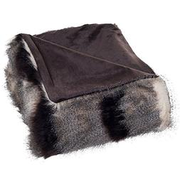 Bedford Home Luxury Long Haired Striped Faux Fur Throw Blank