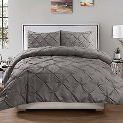 Sweet Home Collection 3 Piece Luxury Pinch Pleat Pintuck Fas