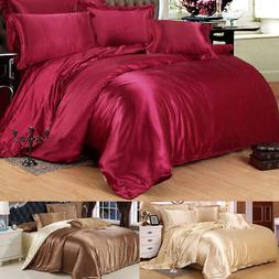 Luxury Silk Blend Twin Queen King Size Duvet Cover Pillowcas