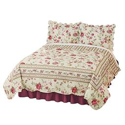 Madeline Floral Scalloped Edge Quilt Pink King, Pink, King