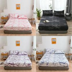 Marbling Printed Bed Sheets Flat Soft Bedding Mattress Prote