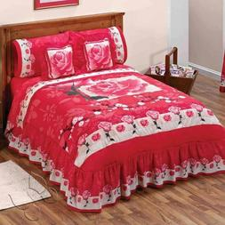 Maribel Red Roses Bedspread Sheet Set New Girls Coverlets Be