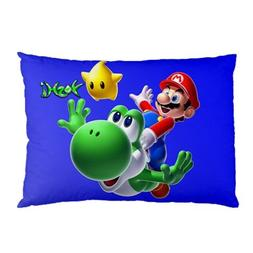 Mario Bros Yoshi Pillowcase in Size 18 X 26 Inch and 2 Side