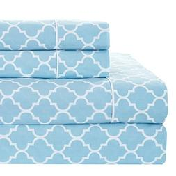 Meridian Blue and White Brushed Percale Cotton Sheets, 4pc K