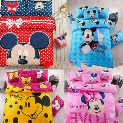 Mickey Mouse Bedding Set cartoon kids bedclothes covers 4 pc