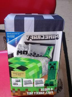 MINECRAFT MICROFIBER FULL SIZE SHEET SET~NEW/PKG~1 FLAT/1 FI