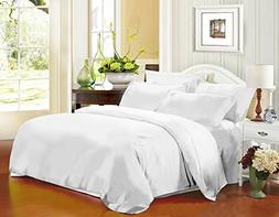 HOMFY 4 Piece Microfiber Queen Bed Sheet Set With Flat Sheet