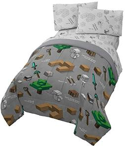 Jay Franco Minecraft Survive 4 Piece Twin Bed Set - Includes