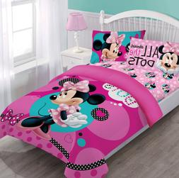 Disney Minnie Dreaming in Dots Twin Comforter Set w/Fitted S