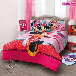 Minnie Mouse Polka Red Comforter Twin Sheets Pillow Reversib