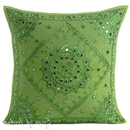 """Eyes of India - 16"""" Green Mirror Embroidered Pillow Colorful"""