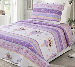 Mk Collection 2 Pc Bedspread Teens/girls Pink Purple Stars F