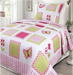 Mk Collection 2 Pc Bedspread Teens/girls Pink Yellow Butterf