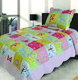 Mk Collection 2 Pc Bedspread Teens/girls Pink Yellow Green B