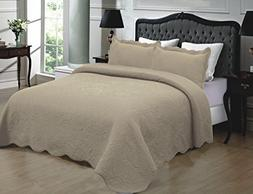 Mk Collection 3pc Quilted bedspread Embroidery Solid 100% Co