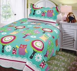 Mk Collection Twin Size 2 Pc Bedspread Teens/girls Owl Teal