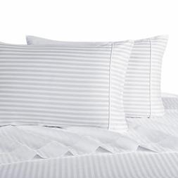 Modern 100-Percent Cotton Damask Striped Bed Sheets with 300