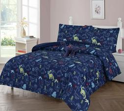 Multi Dinosaur Navy Kids/Teens Bed In a Bag COMFORTER T-Rex