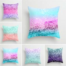 Multicolor Peach Skin Pillow Cover Sofa Waist Throw Cushion
