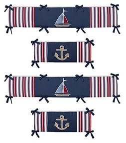 Sweet Jojo Designs Nautical Nights Collection Crib Bumper