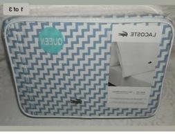 New LACOSTE 100% Cotton Percale QUEEN Bed sheets set Chevron