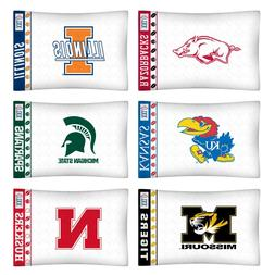nEw 2pc NCAA COLLEGE Logo PILLOWCASES - Decor Sports Team Be