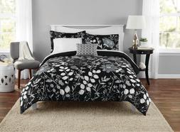New 8 Piece Black Floral Queen Size Comforter Set Bedding Be