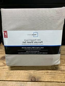 New FULL 100% Cotton Percale Sheet Set Mainstays 200 Thread