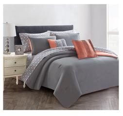 New Gray King Size Comforter Set Bedspread Bed in a Bag Shee