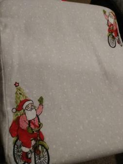 NEW KING Size Gray With Santa Claus Christmas Flannel Cotton