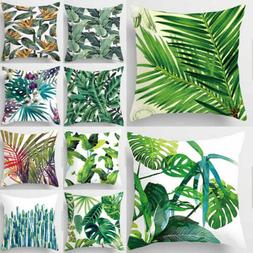 New Leaf Cotton Linen Cushion Cover Throw Pillow Case Sofa H