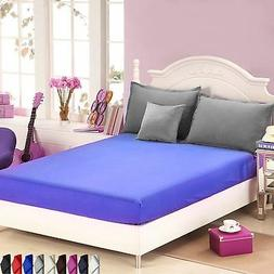 NEW PLAIN DYED FITTED BED SHEETS POLYESTER MATTRESS COVER BE