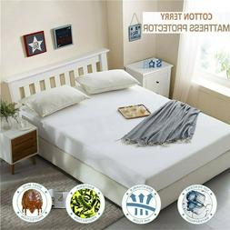 NEW WATERPROOF MATTRESS PROTECTOR TERRY FITTED SHEET BEDDING