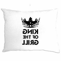 Novelty Cooking Pillow Case King Of The Grill Slogan Chef Jo