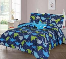 Ocean Blue Shark Kids/Teens Bed In a Bag COMFORTER Friendly