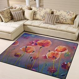 ALAZA Oil Painting Red Poppy Area Rug Rugs for Living Room B