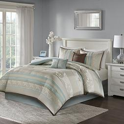 Jacquard Queen Size Comforter Set - 6 Piece, Stripes with Fl