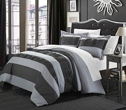 Chic Home 3-Piece Park Lane Duvet Set, Grey, Queen