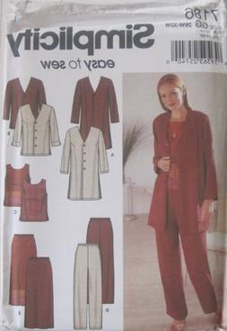 Simplicity Pattern 7186 Womens Jacket in Two Lengths, Top, P