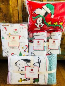 Pottery Barn Kids Peanuts Holiday Full Queen Quilt Sheet Set