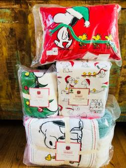 Pottery Barn Kids Peanuts Holiday Twin Quilt Sheet Set Euro