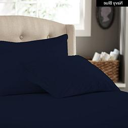 Percale Sheets, Navy Blue Solid 600 Thread Count 4-Piece Que